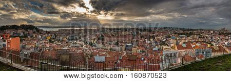 Lisbon, Portugal, panorama view with stormy clouds