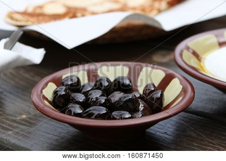 A black olives dish as part of a traditional Lebanese breakfast.