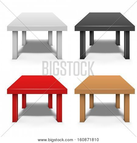 Small coffee table isolated on white background vector template in white, black, red and brown color.