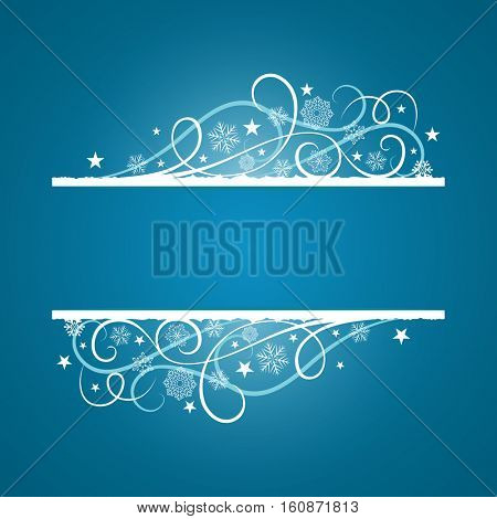 Blue Christmas banner with snowflake ornament vector template. Christmas card with copy space.