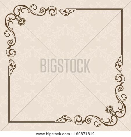 Vintage card with floral frame design. Blank invitation template with copy space.