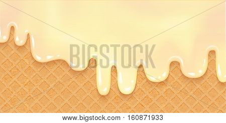 Ice cream melted on Wafer. Sweet Background. Vector Illustration. Tasty liquid cream. Ice-cream ciryp on waffle layout.