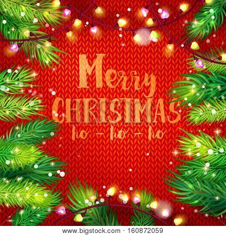 Typographic Christmas card with fir and garland frame on knitting background. Holiday greetings on red. Merry Christmas