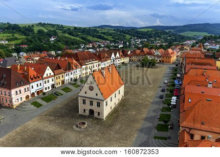 Aerial view of the old town square in Bardejov by day, Slovakia