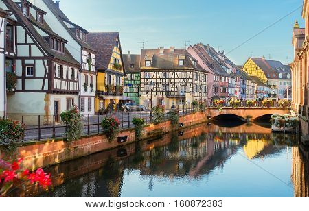 canal of Colmar, most famous town of Alsace, France