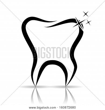 An illustration of a tooth as a dental symbol on a white background.