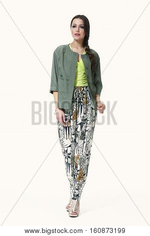woman with straight hair style in casual green jacket print summer trousers full body photo high-heeled shoes isolated on white