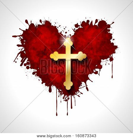 Illustration of the Christian cross in a heart on a white background.