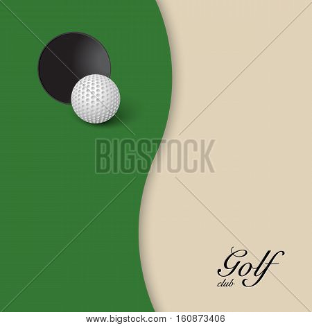 Hole and golf ball on background of green grass with white area. Vector illustration.