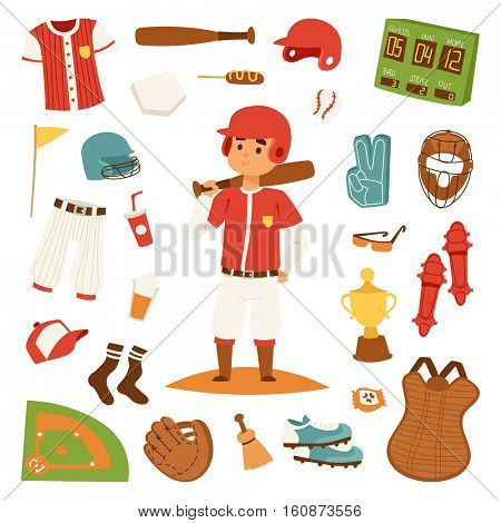 Cartoon baseball player icons batting vector design