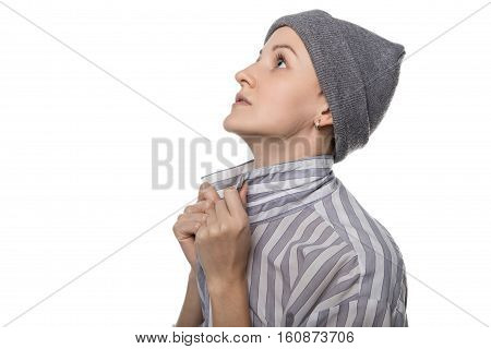 Praying pauper with headdress on white background poster