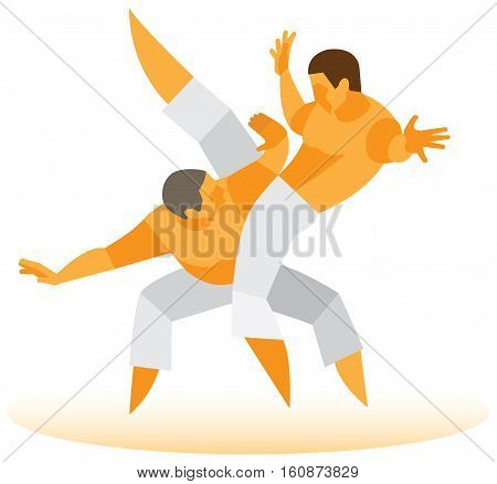 Duel of two experienced Brazilian capoeira fighters