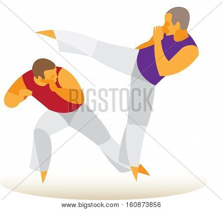 Brazilian Martial Arts. Two Brazilian trained in Capoeira fight