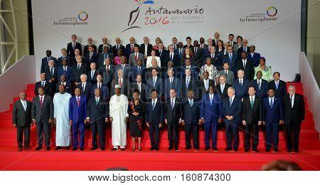 Antananarivo Madagascar. November 26th 2016 - Family photo of presidents and chief of delegation at the 16th Francophonie Summit in Antananarivo