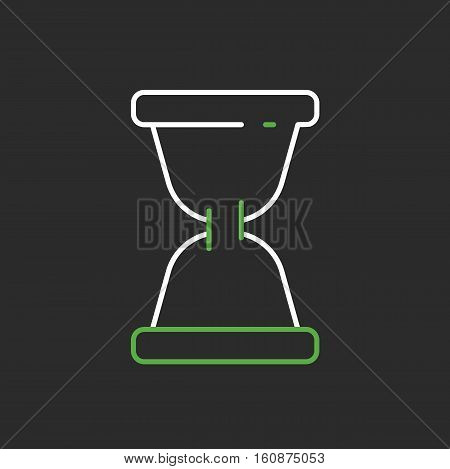 Hourglass time clock sign icon flat cartoon vector stock