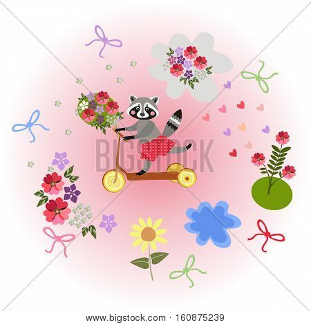Cute cartoon raccoon riding by homemade scooter with bouquet as a gift. Greeting card Happy birthday. Vector illustration.