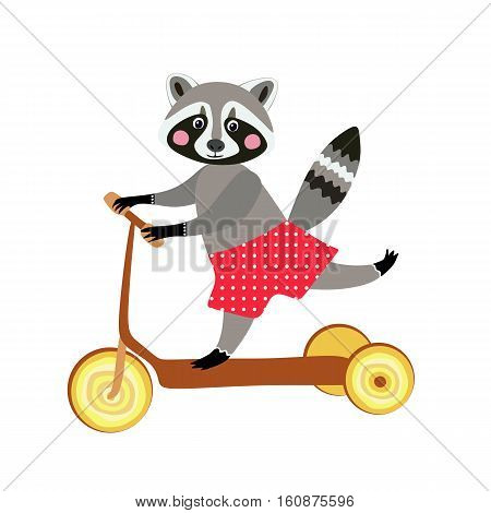 Cute cartoon raccoon traveling by homemade scooter. Greeting card. Isolated on white.