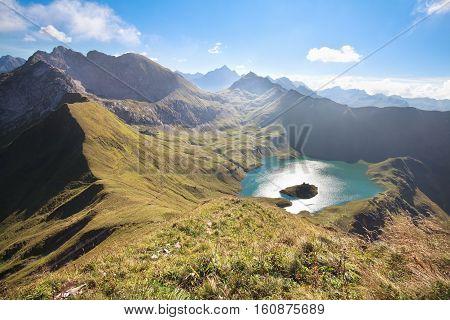 alpine mountain peak around Schrecksee lake Germany