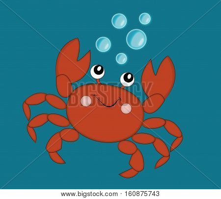 Vector image of crab in water.Vector illustration of crab.Around crab bubbles.
