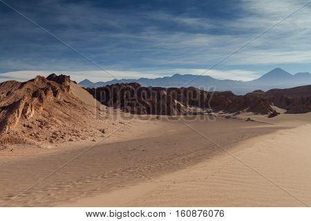 Sand dunes at Valle de la Muerte Atacama desert Chile