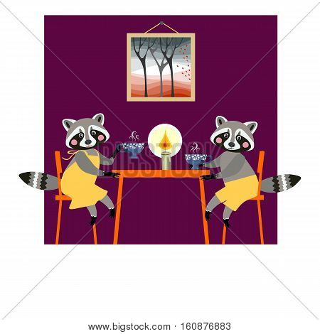 Cute raccoons drink tea. Teatime. Beautiful vector card with cartoon animal characters.