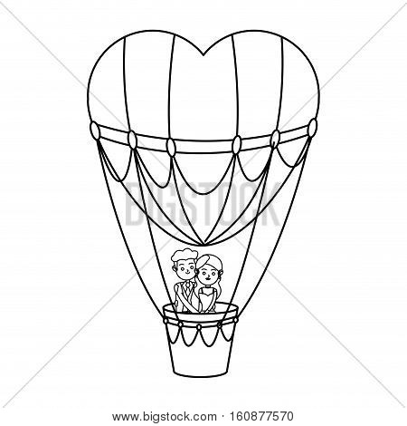 Hot air balloon and heart icon. Love romance and relationship theme. Isolated design. Vector illustration