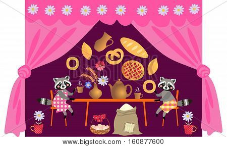 Family dinner. Beautiful vector card with cartoon animal characters. Tea party with cute raccoons. Teatime.