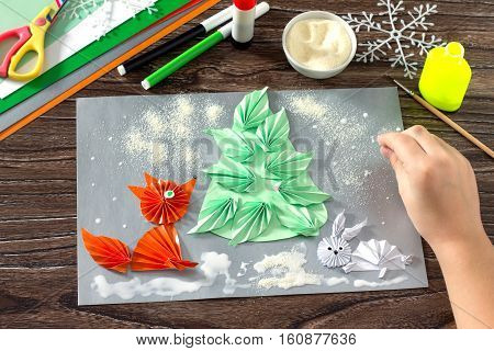 The Child Makes A Paper Christmas Tree, Snow, Fox And Hare. Creating Snow Semolina And Glue Parts Ch