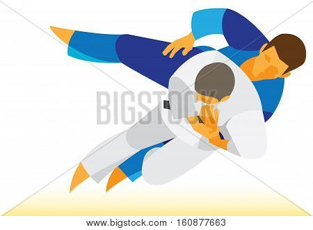 two wrestlers judo involved in stubborn fight on the mat