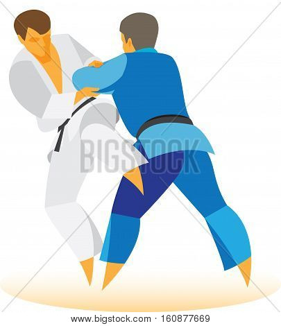 duel between two wrestlers on the mat