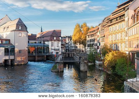 canal and gateway of Petit France medieval district of Strasbourg, France