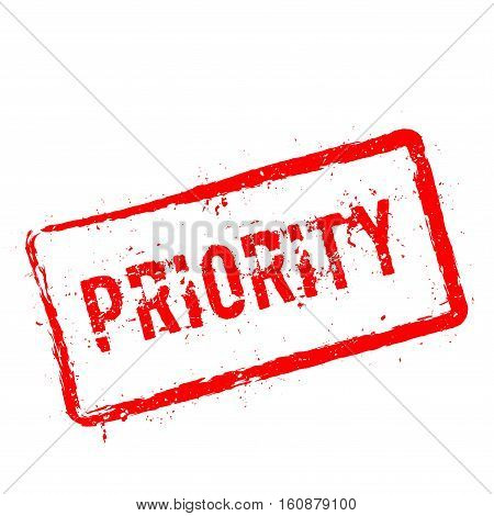 Priority Red Rubber Stamp Isolated On White Background. Grunge Rectangular Seal With Text, Ink Textu