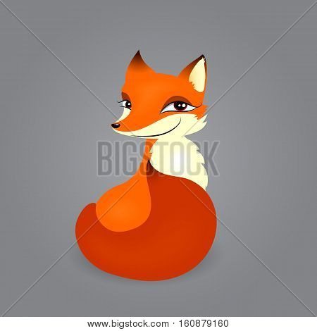 vector illustration of mischievous sly fox sits looking away isolated on gray