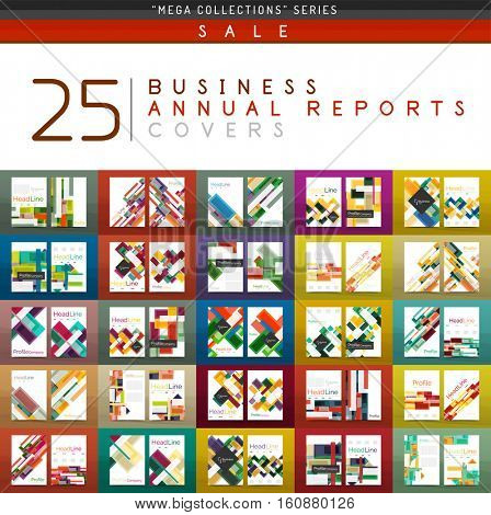 Mega collection of 25 business annual reports brochure cover templates. Vector A4 size business abstract backgrounds created with geometric shapes - lines, triangles, squares