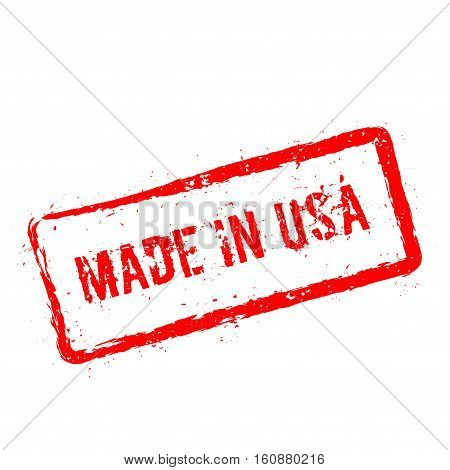 Made In Usa Red Rubber Stamp Isolated On White Background. Grunge Rectangular Seal With Text, Ink Te