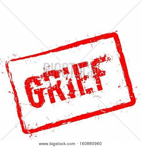 Grief Red Rubber Stamp Isolated On White Background. Grunge Rectangular Seal With Text, Ink Texture
