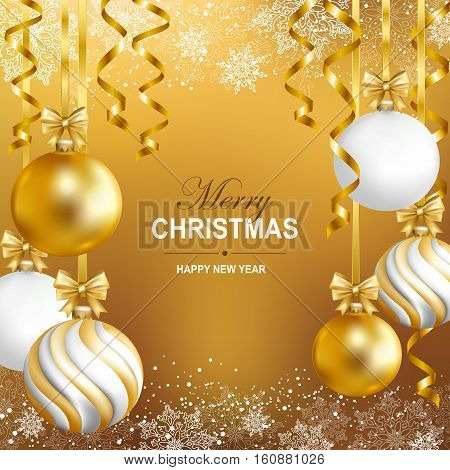 Merry Cristmas and Happy New Year card with gold white and striped balls snowflakes and gold serpentine. Vector illustration.