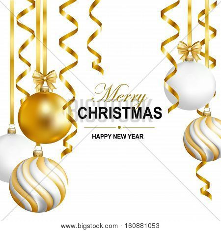 Merry Cristmas and Happy New Year card with gold white and striped balls and gold serpentine. Vector illustration.