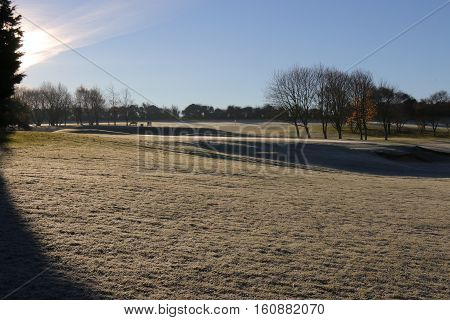 1ST DECEMBER 2016, PORTSMOUTH,ENGLAND:Frost on the fairways and greens of a golf course during early morning in Portsmouth,england,1st December 2016