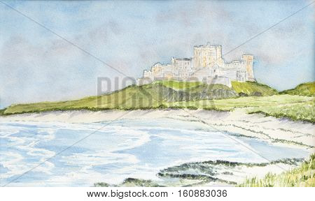 Painting of Bamburgh castle in Northumberland, UK