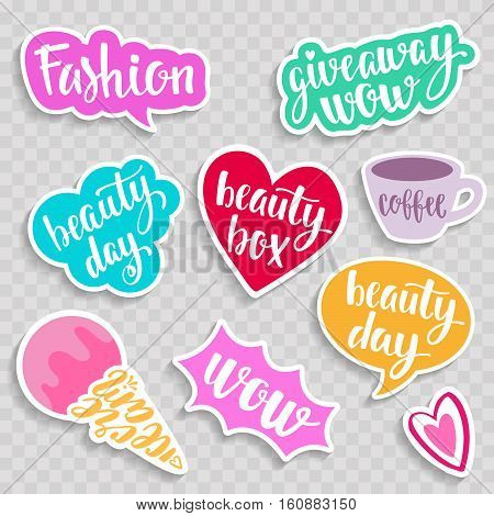 Set of stickers, pins, patches in cartoon comic style. Vector illustration isolated on light background.