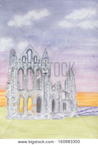 Painting of the ruins of Whitby Abbey