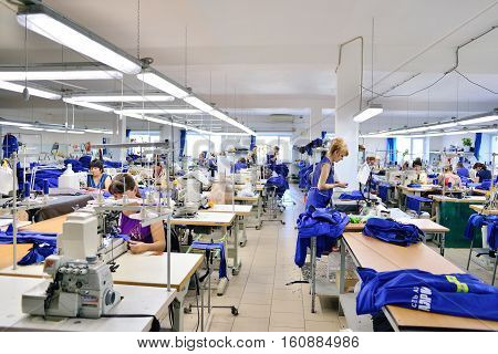 GUKOVO RUSSIA - SEPTEMBER 2016: Workers work in a garment factory