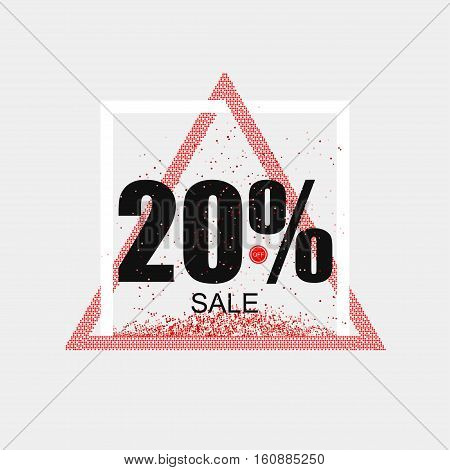 Discount coupon or the sale in a modern style. Triangular red frame. Vector illustration