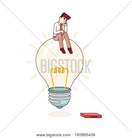 Business man sitting on idea light bulb and thinking. Solving problem and looking for solution concept. Modern flat style thin line vector illustration metaphor. Concept isolated on white background.