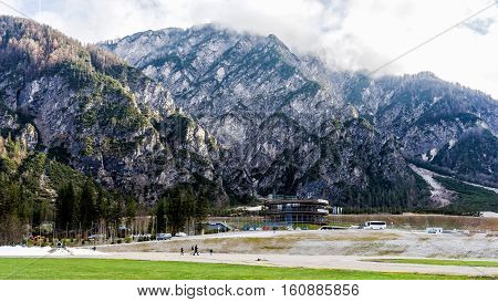 PLANICA, SLOVENIA - NOVEMBER 27, 2016: Planica Nordic Centre skiing complex with 1 ski flying hill 7 ski jumping hills and cross-country skiing track, the only skiing center with hills of all sizes.