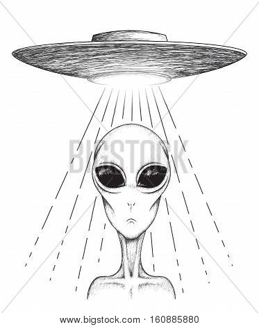 alien teleports from UFO.Isolated on white background.Hand drawn vector illustration