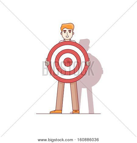 Business man holding big aim target bravely waiting for an arrow of opportunity. Modern flat style thin line vector illustration. Concept isolated on white background.