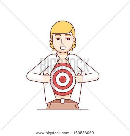 Business man opening shirt off revealing aim target bravely waiting for an arrow of opportunity. Modern flat style thin line vector illustration. Concept isolated on white background.