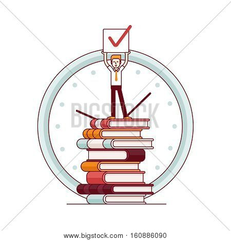 Business man standing on a huge tower stack of books and holding job done check sign in hands above his head. Modern flat style thin line vector illustration. Concept isolated on white background.